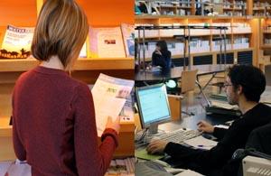 Imagen de gente consultando libros