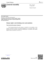 Report of the Special Rapporteur on the human right to safe drinking water and sanitation