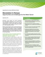 Devolution in Kenya: Opportunities and Challenges for the Water Sector