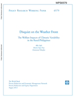 Disquiet on the Weather Front. The Welfare Impacts of Climatic Variability in the Rural Philippines