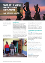WASH Post-2015 proposed targets and indicators for drinking-water, sanitation and hygiene