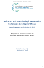 Indicators and a monitoring framework for Sustainable Development Goals. Launching a data revolution for the SDGs