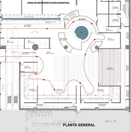 Plano de la planta general del pabellón de zaragoza para la expo 2008