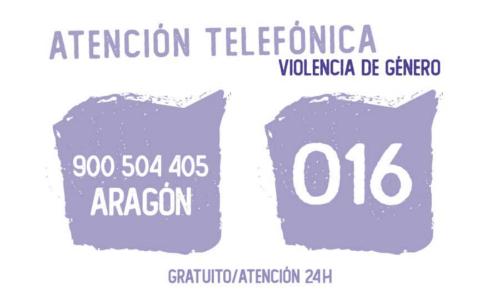 Teléfonos de Emergencia 900 504 405 (Aragón), 016 (Resto de España), 900 116 016 (Discapacidad Auditiva, Gratuito las 24 horas del día