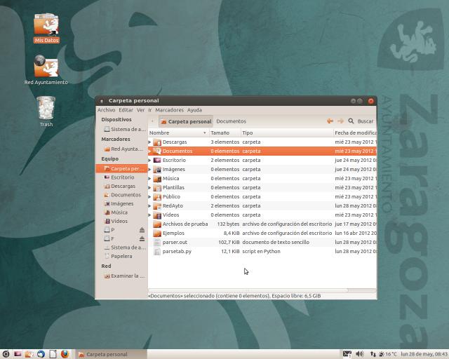 Aspecto del escritorio en AZLinux 12 (todavía en desarrollo)
