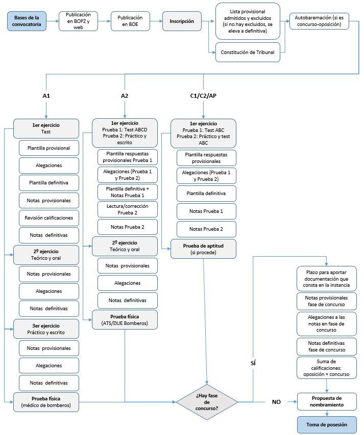 Resumen de las fases de los procesos selectivos