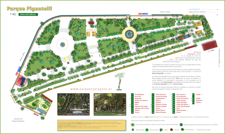Mapa Parque Grande Zaragoza.Ayuntamiento De Zaragoza Parque Pignatelli